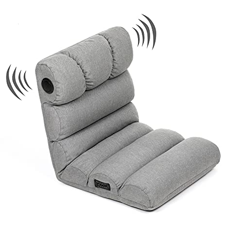 Audio Bum Bluetooth Audio Gaming Chair with Speakers; Foldable Gaming Chair for Kids, Teens, and Adults. Game Chair, Meditation, Movies and Dorm Room Floor Lounger, Grey