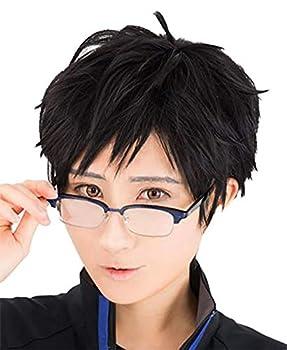 TOKYO-T Yuri on Ice Yuri Katsuki Cosplay Black Short Wig Eyeglass Set Halloween