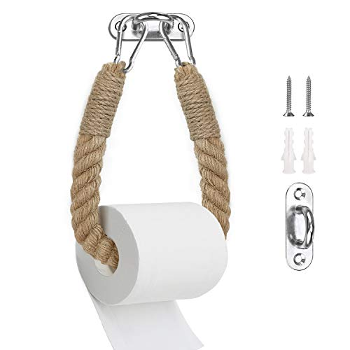 PortarrollosPapelHigienico Madera Cuerda Vintage SinTaladro,Sujetador de Papel Montura de Pared Autoadhesivo para Baño (estilo 1)