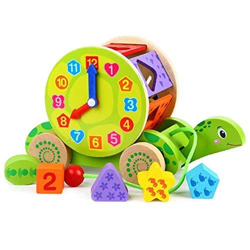 Lalia Nachzieh Holzspielzeug, Schnecke, Ente, Zug Motorik Spielzeug, Nachziehtier bunt, aus Holz, Geschenk für Kinder Motorik Spielzeug, bunt Holz Uhr Spielzeug 2+ Kinder Kleinkinder (Schildkröte)