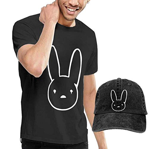 Welikee Camiseta, Manga Corta, Bad-Bunny Adult Men's Fashion T Shirt+ Cowboy Hat Cap