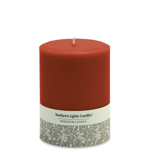 Northern Lights Candles Fragrance Free Pillar Candle, 3 by 4-Inch, Crimson
