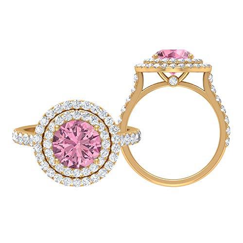 Juego de anillos de solitario para novia, 3,24 quilates redondos, D-VSSI moissanite 8 mm turmalina, anillo de doble halo con piedras laterales, joyería de oro para ella, 10K Oro amarillo, Size:EU 52