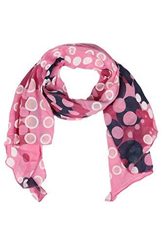 Zwillingsherz Seiden-Tuch im Punkte Design - Hochwertiger Schal für Damen Mädchen - Halstuch - Umschlagstuch - Loop - weicher Schlauchschal für Frühjahr Sommer Herbst und Winter - pink
