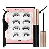 Magnetic Eyelashes Kit 3D Reusable False Eyelashes 4 Pairs with Magnetic Eyeliner Tweezer Scissors