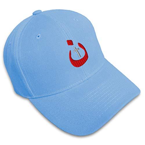 Speedy Pros Baseball Cap Christian Nazarene Jesus God Embroidery Typography & Symbols Letters Acrylic Hats for Men Women Strap Closure Light Blue Design Only