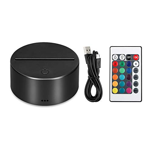 EEEKit 3D Night LED Light Lamp Base Control Remoto Cable USB Ajustable 7 Colores Decoración Luces para Dormitorio Habitación Infantil Sala de Estar Bar Tienda Cafetería Restaurante Oficina