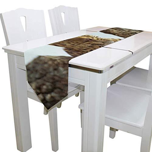 N/A Eettafel Runner Of Dresser Sjaal, Gespot Panter Wild Life Deck Tafelkleed Runner Koffie Mat voor Bruiloft Partij Banket Decoratie 13 x 90 inch