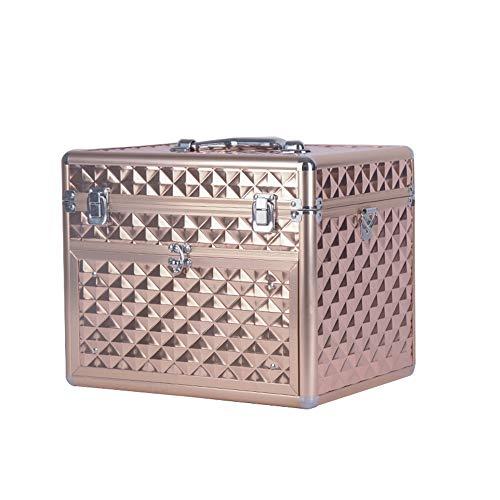 Storage Box Nail boîte de Rangement des cosmétiques,48 Petits Treillis avec tiroirs Étui à cosmétiques Portable de Voyage Multifonction de Grande capacité, étanche à l'eau et à la poussière