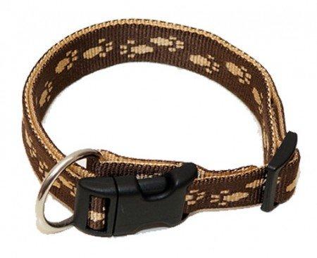 Hundehalsband, Wienerlock®, Soft Nylon, Braun, Beige Pfötchen, 55-90cm, 25mm, mit Zugentlastung