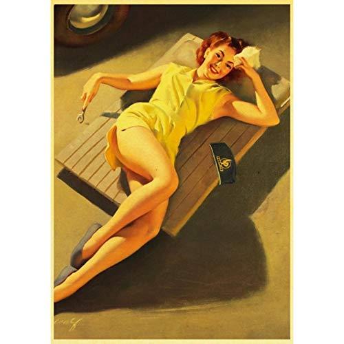 lubenwei Vinatge World War II Sexy Pin up Girl Retro Poster Canvas Paper Printed Sexy Lady Art Posters and Prints Wall sticker Decor 40x60cm No frame (WA-2742)