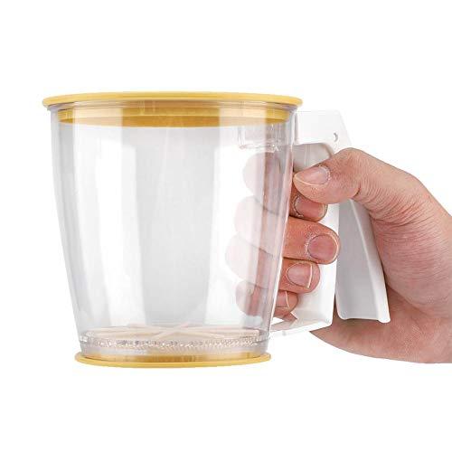 Linel Cernidor de harina para Hornear - Colador de harina de Mano Taza de colador de harina Colador de Malla de Polvo Herramientas para Hornear con Tapa para cocinar Herramientas de pastelería
