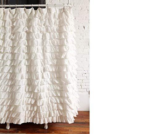spring Home Waterfall Ruffled Fabric Shower Curtain (White)