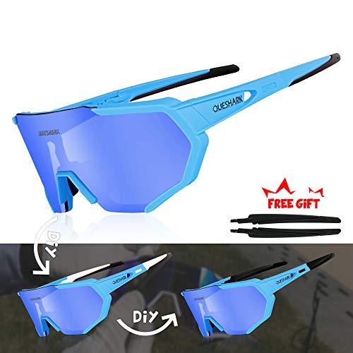 Queshark Radbrille Polarisierte Sportbrille Fahrradbrille mit UV-Schutz 3 Wechselgläser für Herren Damen, für Outdooraktivitäten wie Radfahren Laufen Klettern Autofahren Angeln Golf (Blau) - 3