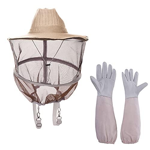 ZffXH Apicultor protección apicultura sombrero redondo y velo con guantes 2 en 1 - sombrero de paja