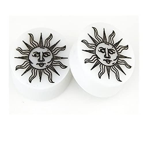 QWERBAM 2 unids/Lote Sol + Luna acrílica Silla de Montar de acrílico Oreja Expander camillas Ear GAUGES Doble FLARETE EJETOS Mujer Mujer PIERRING (Main Stone Color : 16mm, Metal Color : Sun)