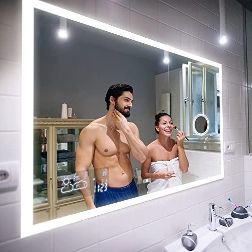 Badspiegel 100x60cm mit LED Beleuchtung - Wählen Sie Zubehör - Individuell Nach Maß - Beleuchtet Wandspiegel Lichtspiegel Badezimmerspiegel - LED Farbe zu Wählen Kaltweiß/Warmweiß L01