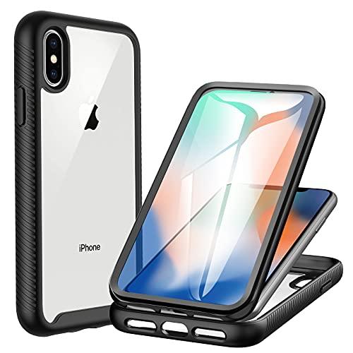 CENHUFO Cover iPhone X/XS, Custodia iPhone X/XS Antiurto con Protezione dello Schermo Integrata 360 Gradi Full Body Rugged Case Trasparente Bumper Cover per iPhone XS/X (5,8 Pollici)- Nero