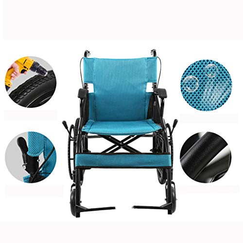 ZZR Transport Rollstuhl-Carbon Stahlrahmen Festes Hinterrad 46cm breiter Sitz, Leichter Klapprollstuhl für Erwachsene, 120kg