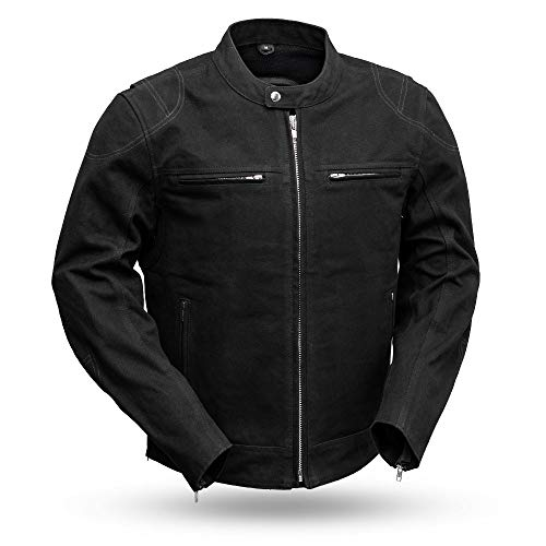 First MFG Co. -Qualifier - Men's Motorcycle Canvas Jacket (Black, Large)