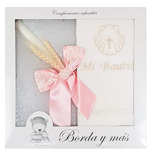 Pack Bautizo incluye paño Bautismal y Vela de cera blanca. Modelo París (Rosa)