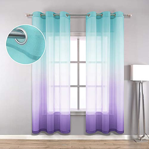 Teal Purple Curtains 63 Inch Length for Girls Room Decor Set 2 Grommet College Dorm Essentials Window Sheer Ombre Girls Furniture for Bedroom Decoration Little Mermaid Baby Kids Nursery Princess Teen