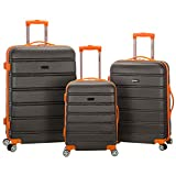 ROCKLAND F160-CHARCOAL Melbourne Abs Luggage Set, Charcoal, One Size