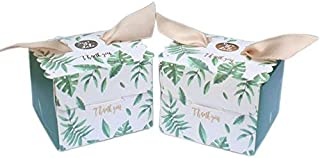 AmaJOY 50pcs Wedding Favor Box with Palm Leaf Pattern Elegant Candy Box for Party Favor Baby Shower
