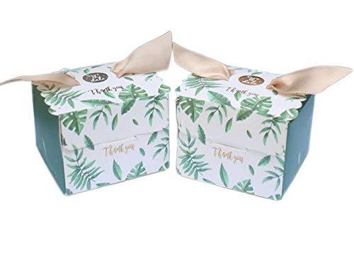 AmaJOY 50 cajas de regalo con patrón de hojas de palma con cinta elegante caja de dulces para regalo de boda, fiesta de bienvenida de bebé