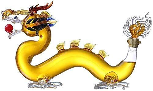 Decantador de Whisky en Forma de dragón de 1000 ML, Botella de Vino de Animales artesanales de Vidrio Transparente de borosilicato artístico único para Padre, Esposo, Amigo Fantastic