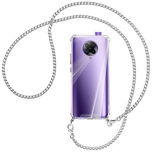 mtb more energy® Collar Smartphone para Xiaomi Poco F2 Pro, Redmi K30 Pro, K30 Ultra (6.67'') - Cadena de Metal (Plata) - Funda Carcasa Anti Shock con Correa para Hombro