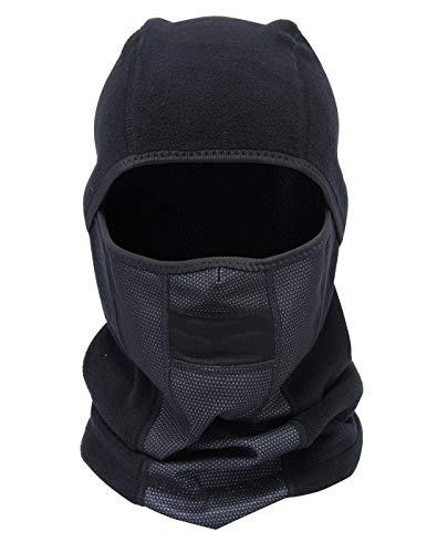 Panegy - Máscara Forro Polar Térmica Pasamontañas de Invierno Caliente Unisex a Prueba de Viento para Mujer Hombre al Aire Libre Sombrero de Esquí Color Negro