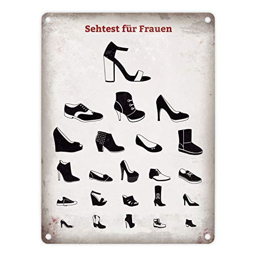 trendaffe - Sehtest für Frauen Blechschild mit verschiedenen Schuhen in 15x20 cm - Metallschild Dekoschild