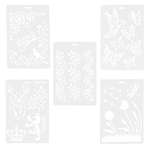 OUNONA - Plantillas de dibujo de plástico, álbum de recortes, decoración de bricolaje, 5 unidades