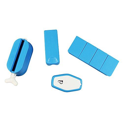 COM-FOUR® 4-delige tablet accessoireset tabletdoos - mortel voor het pletten van tabletten - tabletverdeler - buispers voor tandpasta en room (4 delen)