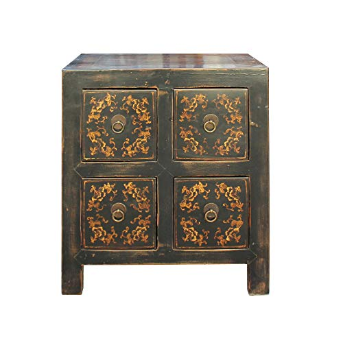 Oriental Distressed Black Golden Flower 4 Drawers End Table Nightstand Acs4555