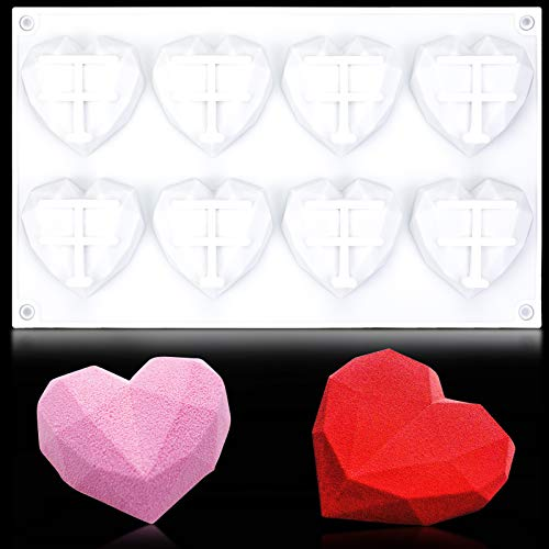 Qpout 3D Silicone Heart Diamond, Valentine's Day Cake Candy Chocolate Mold Tray, Fondant Molds Baking Tool for Wedding Baby Shower Valentine's Day Engagement Party Supplies Cake Decoration