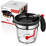 Fat Separator Measuring Cup And Strainer With Bottom Release For Gravy Sauces And Other Liquids With...