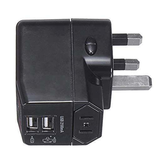 Schalter Universal-Reise-Adapter-Stecker Dual USB Ports mit Überspannungsschutz