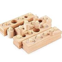 Ms.0 円柱さし 無着色 24pcs 木製 パズル 積み木 型はめ モンテッソーリ教育 PL保険加入済会社
