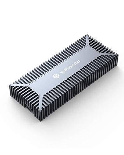 Yottamaster 40Gbps Thunderbolt 3 NVMe SSD Gehäuse, PCI-E 3.0X4 auf Thunderbolt3 M2 SSD Gehäuse für M-Key 2280 SSD, mit 50mm Thunderbolt 3 Datenkabel(SSD Nicht enthalten)