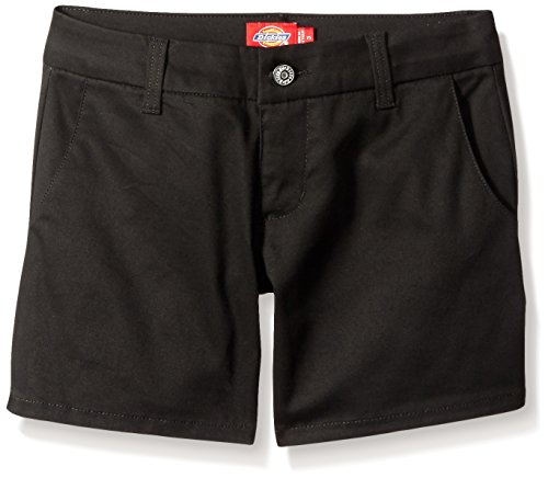 Dickies Girl Juniors Mid Rise 5 Inch Slim Short with 4 Pockets, Black, 1