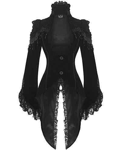 RQ-BL Edler Steampunk Gothic Damen SAMT-Frack Jacke Mantel Barock (21119), Schwarz, L