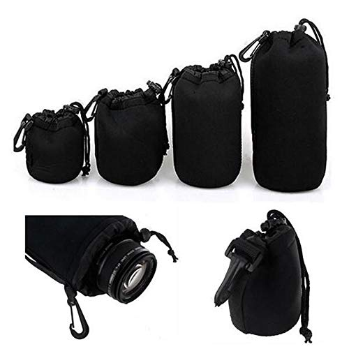 ChenYongPing Portable Waterproof Camera Backpack 4Pcs Soft Neoprene Lens Pouch Bag for Camera S M L XL (Color : Black, Size : One size)