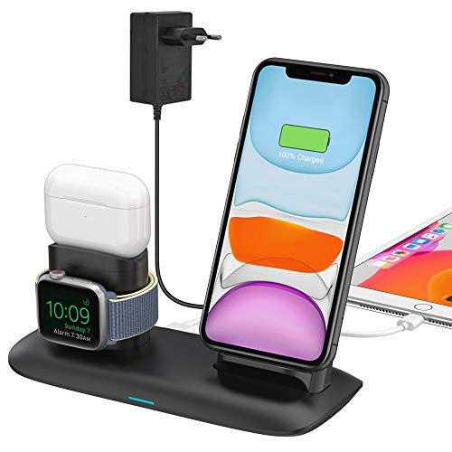bossgo Induktive Ladegerät Qi Wireless Charger Kabelloses Ladestation Stand für iPhone 11/11 Pro Max/X/XS Max/8 Apple Watch 5/4/3/2/1 Airpods Pro/2/1 (Inklusive Adapter)