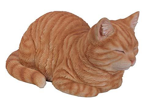 Vivid Arts Träumende Katze, rot, Kunstharz Gartendeko