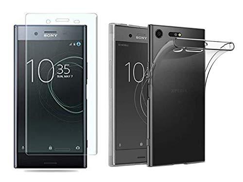 NOVAGO Compatible avec Sony Xperia XZ Premium -Pack 2 en 1 Coque Transparente Souple et résistante Anti Choc+ 1 Film Protection écran Verre trempé 3D incurvé Couvrant Tout l'écran (Transparent)