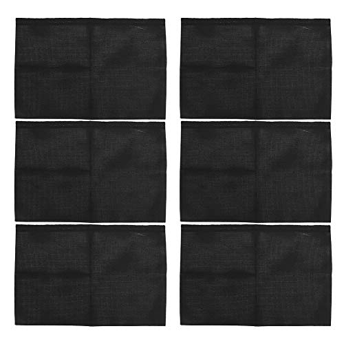 6Pcs Aida Cloth Cross Stitch Cloth, 11CT M Grid 3 Strand Woven Mesh Cloth DIY Carpet Tool Black(30 x 45cm)