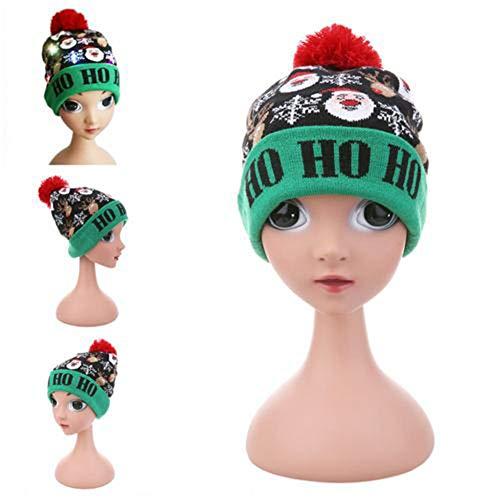Cokeymove Sombrero Iluminado Sombrero Feo de Navidad Gorro de Gorro con Estilo Colorido Suéter Hecho Punto Fiesta...
