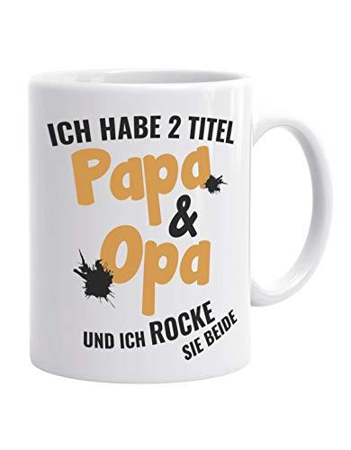 Jayess Opa Tasse Geschenk - Ich Habe 2 Titel Papa & Opa und ich Rocke sei beide - Kaffeebecher zum Geburtstag Geschenkideen für Opas an Weihnachten spontan Geschenk